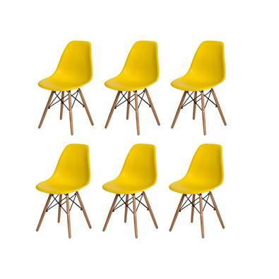 Kit 6 Cadeiras Charles Eames Eiffel Amarela Base Madeira Sala Cozinha Jantar