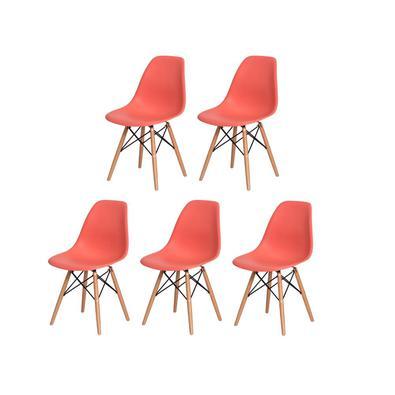 Kit 5 Cadeiras Charles Eiffel Eames Living Coral Base Madeira Sala Cozinha Jantar