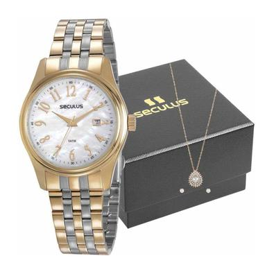 Kit Relógio Seculus Feminino Colar E Brincos 77049lpsvbs3k1