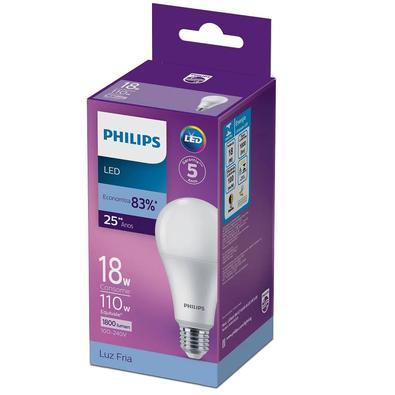 Lâmpada Led Philips bulbo A75 18W luz branca fria 1800 lúmens bivolt base E27