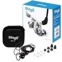 Os monitores intra-auriculares com isolamento de som Stagg SPM-235, apresentados aqui em preto, são um fone de ouvido de alta resolução básico, projet