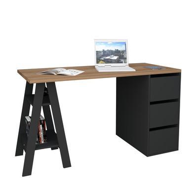 A Mesa Escrivaninha Self com gavetas tem um design moderno e funcional. Os pés semelhantes a cavaletes têm espaço para guardar objetos. Além disso, a