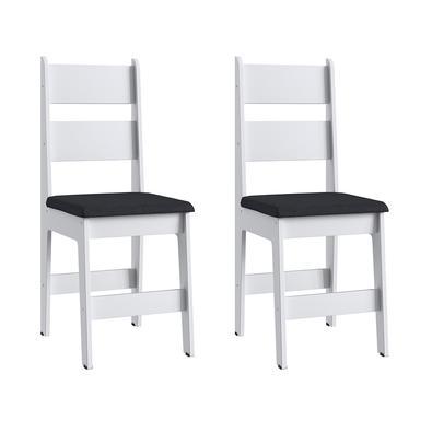 Par de Cadeiras Milano MDF 903 branco Tecido preto     Confeccionada em madeira de lei maciça, assento e encosto estofado muito robusta, ideal para co