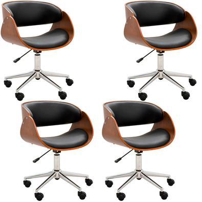 Kit 04 Cadeiras Escritório Office Oga Base Giratória Cromada PU Preta - Gran Belo possui design moderno e único. Este produto possui regulagem de altu
