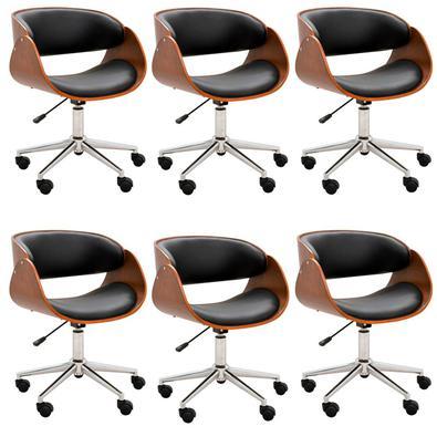 Kit 06 Cadeiras Escritório Office Oga Base Giratória Cromada PU Preta - Gran Belo possui design moderno e único. Este produto possui regulagem de altu