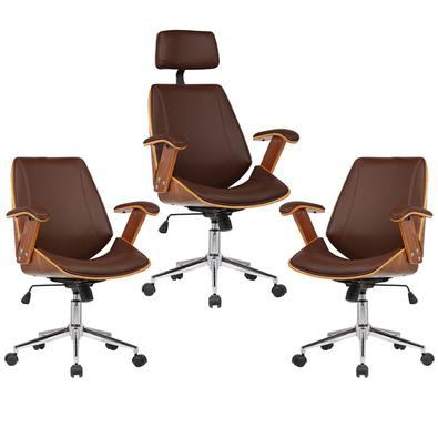 Kit 03 Cadeiras de Escritório Presidente e Diretor Giratória com Regulagem de Altura Akon PU Marrom - Gran Belo está com designe sofisticado, perfeita