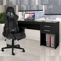 Conjunto Cadeira Gamer MoobX GT Racer Preto com Escrivaninha / Mesa Computador / Mesa Escritório Notavel com 2 Gavetas para Escritorio PretaSeu espaço