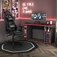 Kit Cadeira Gamer MoobX Thunder Preta + Mesa Gamer MX Vermelha com Gancho para HeadSet - MOOBXMergulhe no mundo Gamer, enfrente obstáculos e supere re