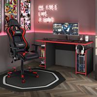 Kit Cadeira Gamer MoobX Thunder Vermelho + Mesa Gamer MX Vermelha com Gancho para HeadSet - MOOBXMergulhe no mundo Gamer, enfrente obstáculos e supere